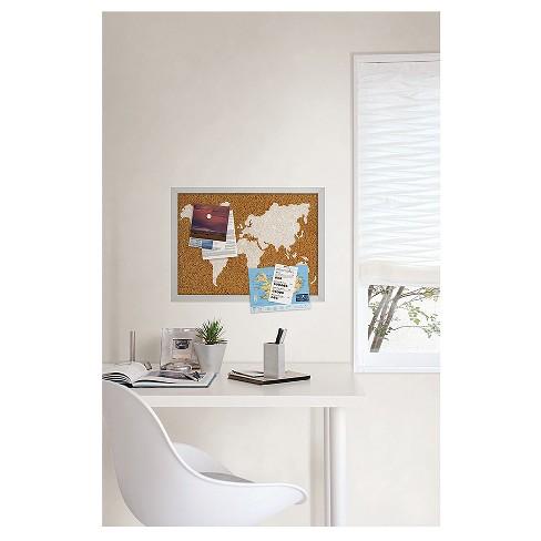 Wall Pops Cork Bulletin Board White Frame 235 X 17 World Map