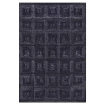 "2'2""x4' Geometric Woven Accent Rugs Black - Weave & Wander"