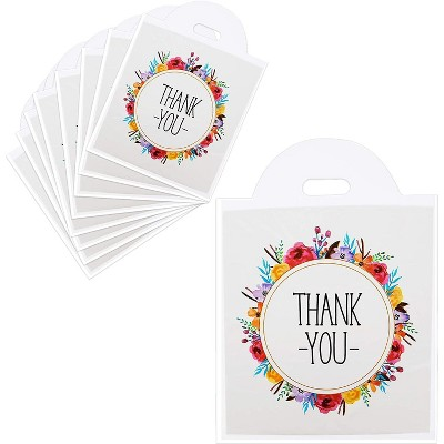 Okuna Outpost 100-Pack Thank You Small Gift Bags with Handles, Floral Wreath Design (12 x 13 in)