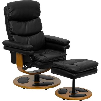2pc Contemporary Multi Position Recliner and Ottoman Set Black - Riverstone Furniture Collection