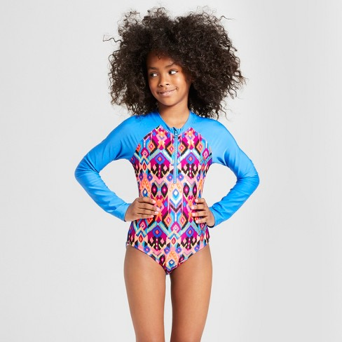 cb8824eca6497 Girls' Tigerlily One Piece Swimsuit - Art Class™ Blue : Target
