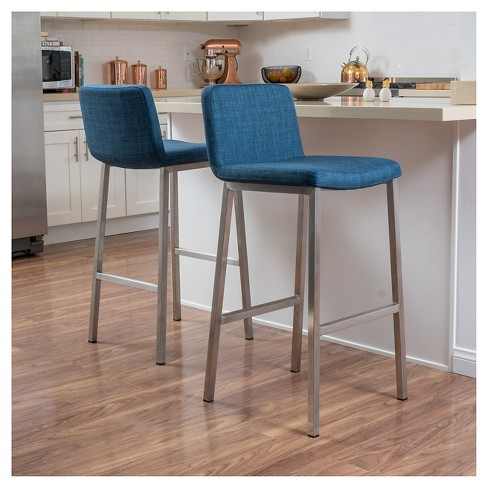 30 Vasos Fabric Barstool Steel Blue Set Of 2 Christopher Knight Home Target