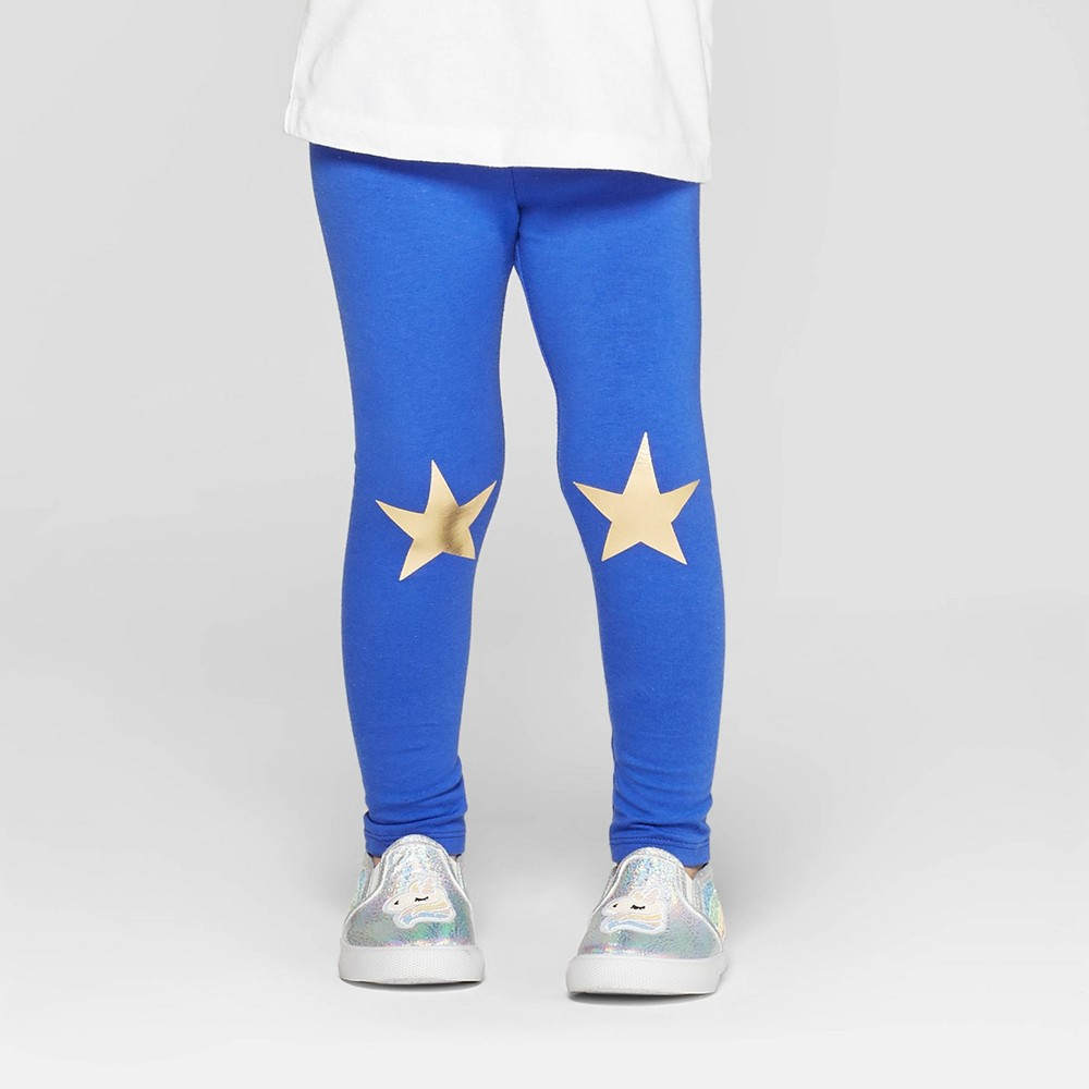 Toddler Girls' 'Star' Leggings - Cat & Jack Blue 5T