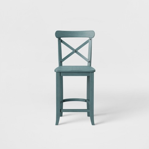 """24"""" Litchfield X-Back Counter Height Barstool Teal - Threshold™ : Target"""