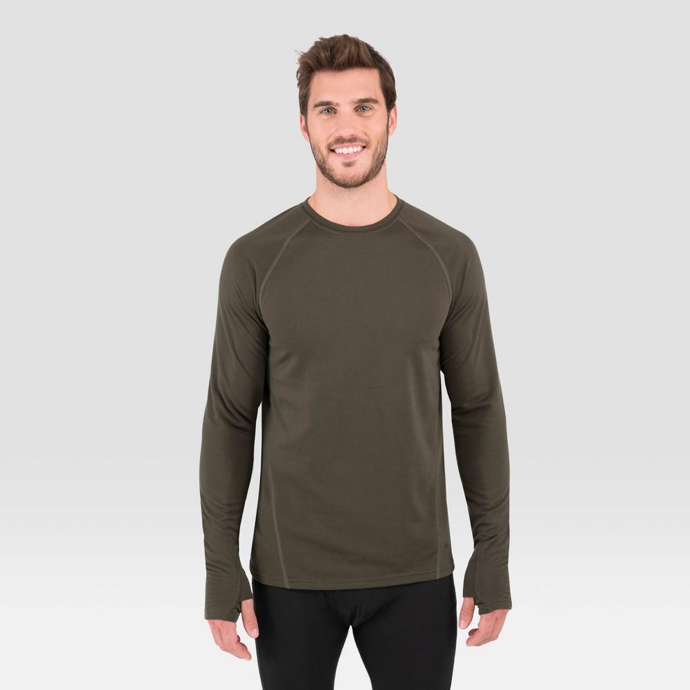 Image of Men's Terramar Long Sleeve 3.0 Thermal Crewneck T-Shirt - Moss L, Size: Large, Green
