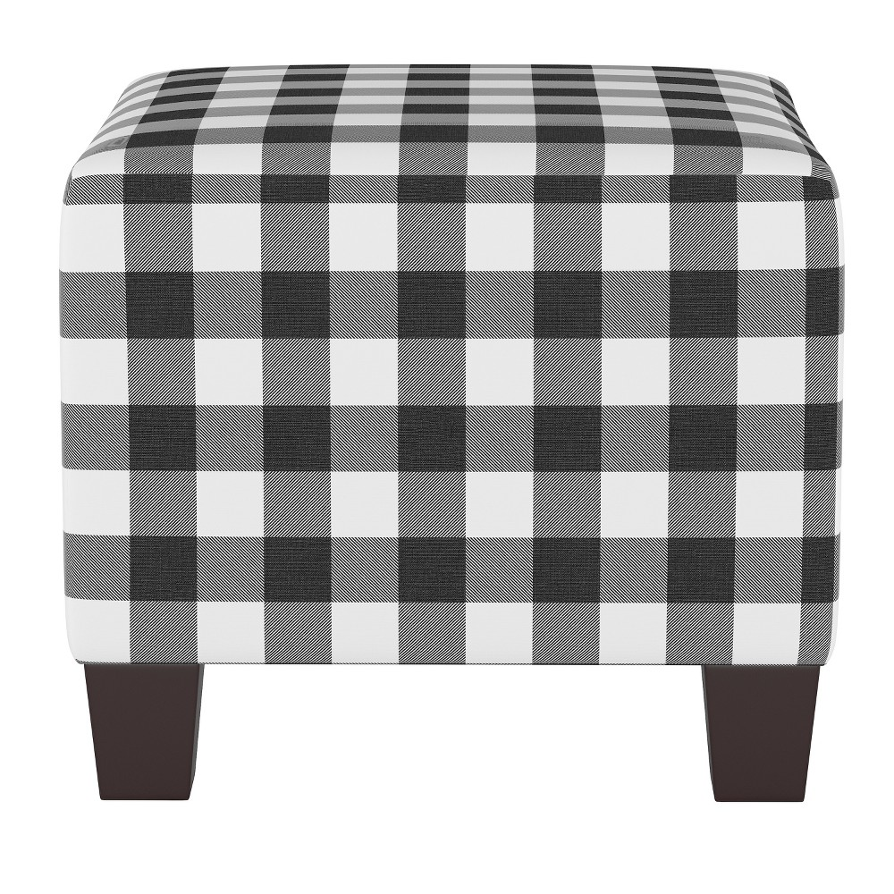 Annie Square Ottoman Black/White Check - Cloth & Co.