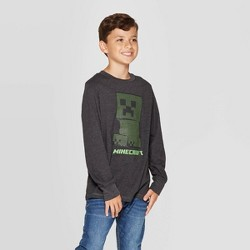 Boys' Minecraft Creeper Long Sleeve T-Shirt - Charcoal Heather