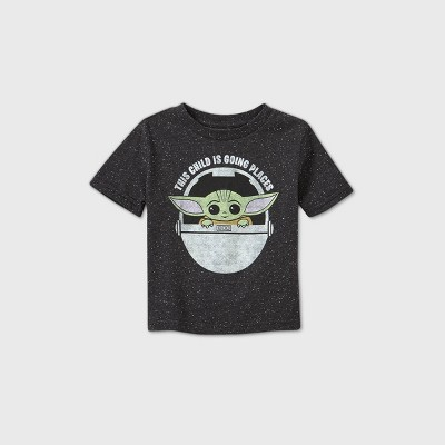 Toddler Boys' Star Wars Baby Yoda Going Places Short Sleeve T-Shirt - Black 2T