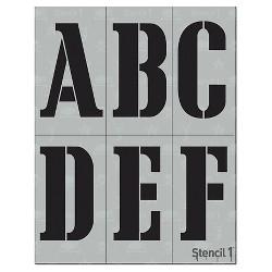 """Stencil1 Corsiva Font 4"""" - Letter Stencil 8.5"""" x 11"""""""