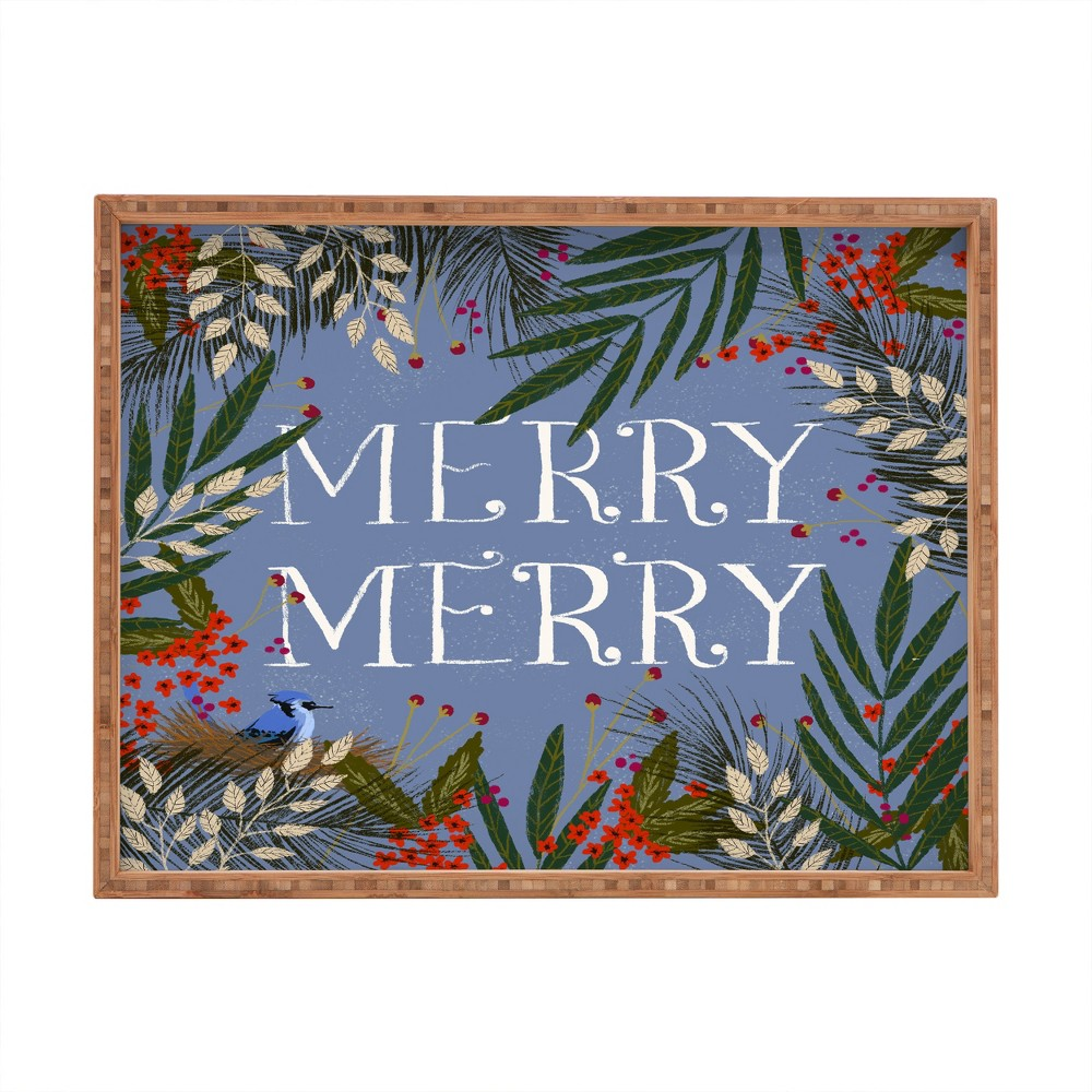 Joy Laforme Christmas Merry Merry Wreath Tray (18) - Deny Designs, Blue