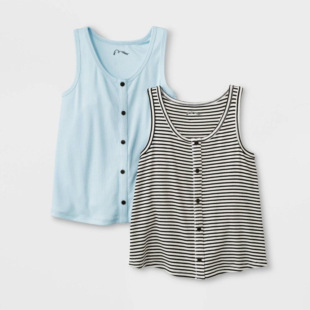 Girls' Button Front 2pk Tank Top - art class Aqua/Black & White L, Blue