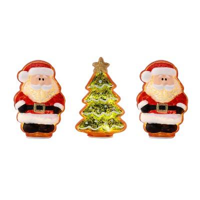 "Mr. Christmas Santa Claus and Christmas Tree Mercury Glass LED Tabletop Decorations- 4"" - Set of 3"