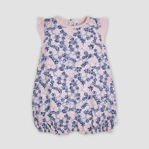 4c80e2a77533 Burt s Bees Baby® Baby Girls  2pk Organic Cotton Ditsy Blossoms Bubble  Romper Set - Indigo   Target