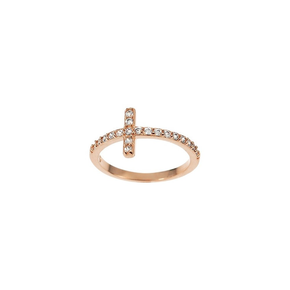 1/5 CT. T.W. Tressa Collection Round Cut Cubic Zirconia Pave Set Ring in Sterling Silver - Rose Gold (5), Women's