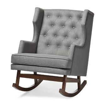 Iona Mid - Century Retro Modern Fabric Upholstered Button - Tufted Wingback Rocking Chair - Gray - Baxton Studio