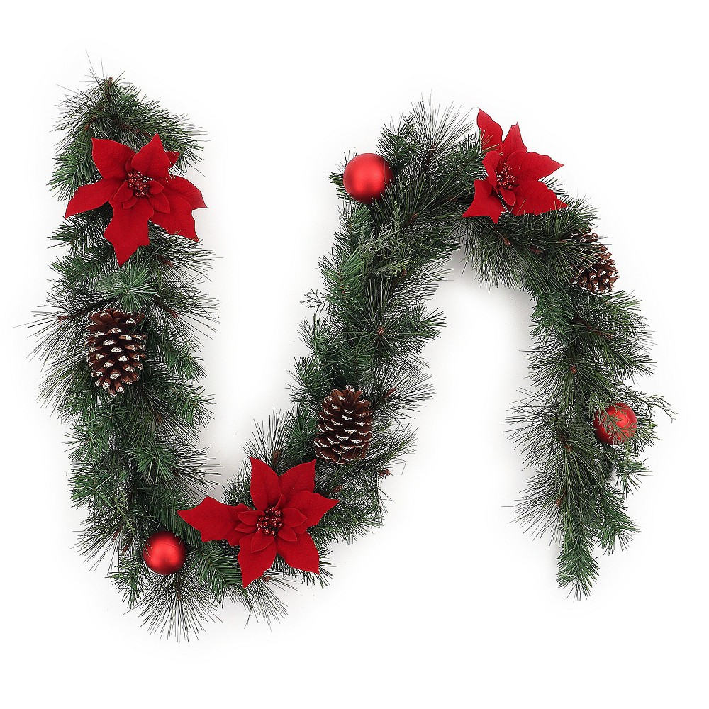 6' Christmas Unlit Red Poinsettia and Ornaments Artificial Pine Garland - Wondershop, Green