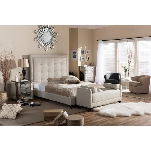 King Hirst Platform Bed With Bench Beige   Baxton Studio : Target