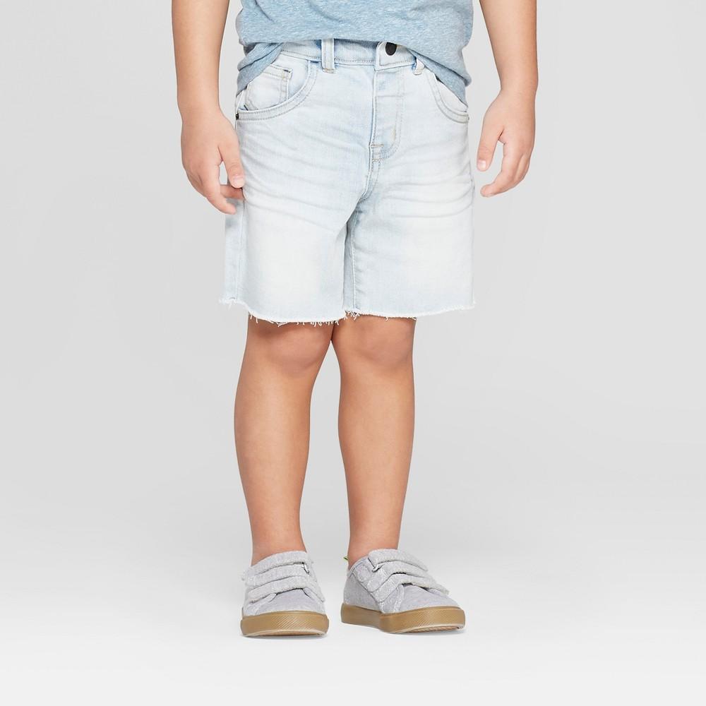 Toddler Boys' Raw Hem Denim Shorts - Cat & Jack Light Blue 12M