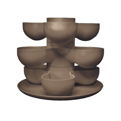 The HC Companies 8 Inch Round Stacking Decorative Indoor Pixie Succulent Flower Planter Pot with 3 Planting Levels, Artisan Taupe