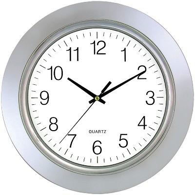 """TimeKeeper 13"""" Chrome Bezel Round Wall Clock SSS6450"""