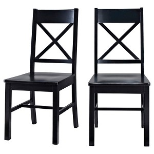 Antique Black Wood Dining Kitchen Chairs, Set of 2 - Saracina Home