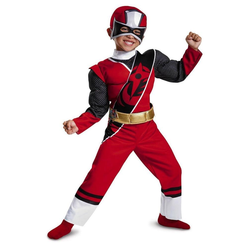 Kids' Power Rangers Red Ranger Ninja Steel Child Muscle Costume S(4-6), Boy's, Multi-Colored