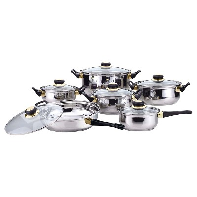 Gourmet Chef 12 Piece Stainless Steel Cookware Set with Black Handles and Knobs