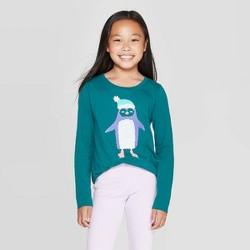 Girls' Long Sleeve Flip Sequin Penguin T-Shirt - Cat & Jack™ Dark Teal
