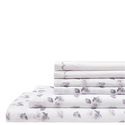 Queen 6pc Embroidered Microfiber Bonus Sheet Set Gray - Elite Home Products