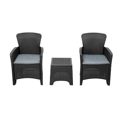 3pc Plastic Patio Conversation Set with Gray Cushions - Accent Furniture