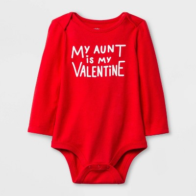 Baby Girls' 'My Aunt is My Valentine' Lap Shoulder Long Sleeve Bodysuit - Cat & Jack™ Red 6-9M