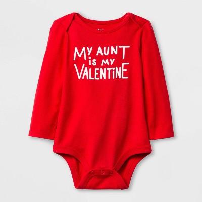 Baby Girls' 'My Aunt is My Valentine' Lap Shoulder Long Sleeve Bodysuit - Cat & Jack™ Red 6-9M