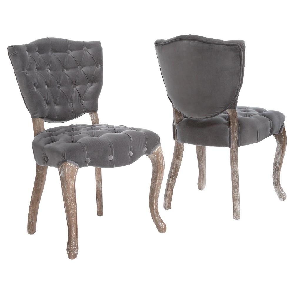 Bates Tufted Gray Fabric Dining Chairs - Gray (Set of 2) - Christopher Knight Home
