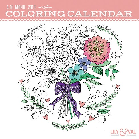 2018 Coloring Calendar Wall Calendar - Trends International - image 1 of 4