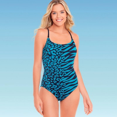 Women's Slimming Control Strappy Back One Piece Swimsuit - Beach Betty by Miracle Brands Teal Animal Print