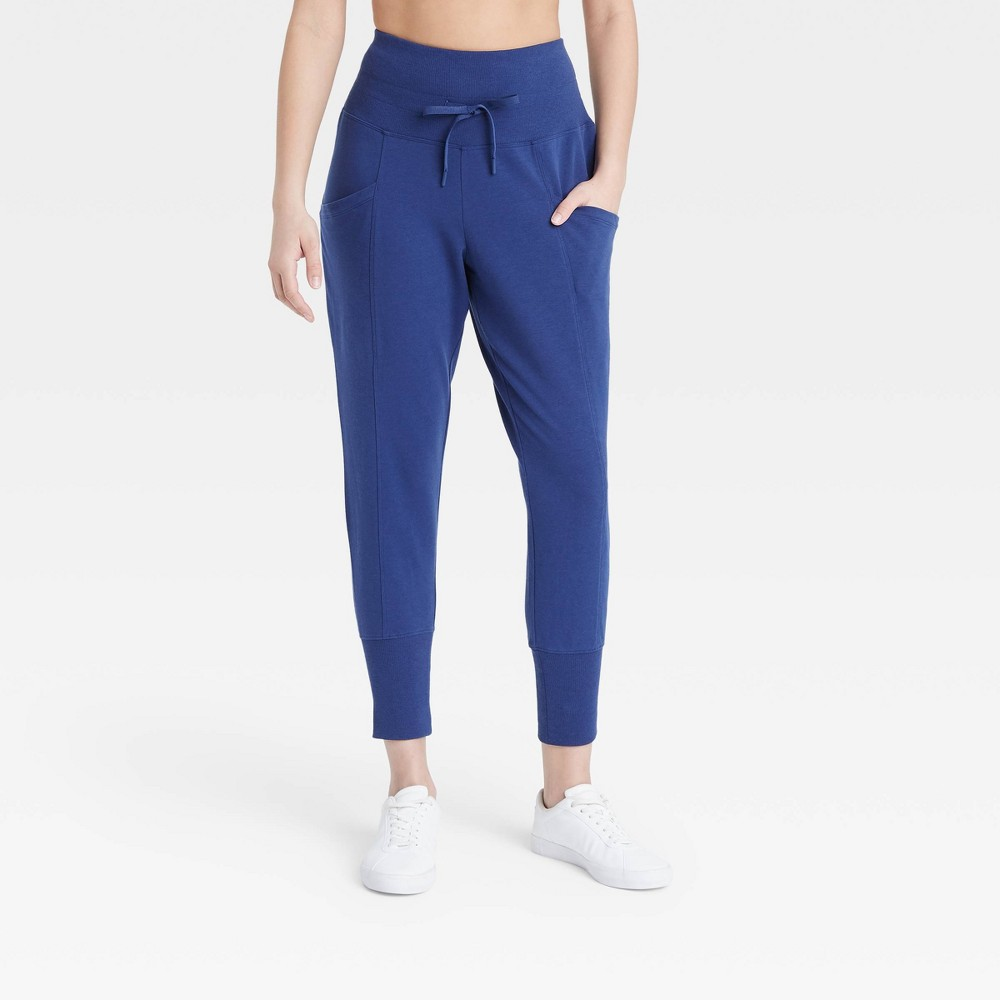 Women 39 S High Waisted Ribbed Jogger Pants 25 5 34 All In Motion 8482 Sapphire Xs