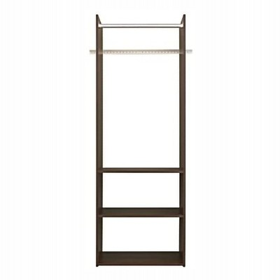 Easy Track Vertical Hanging Tower Closet Storage Solution Organizer Accessory Kit with Clothes Rod and 2 Open Shelves, Truffle Finish