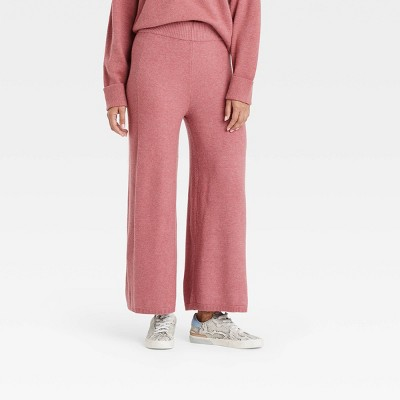 Women's Mid-Rise Wide Leg Ankle Sweater Pants - A New Day™