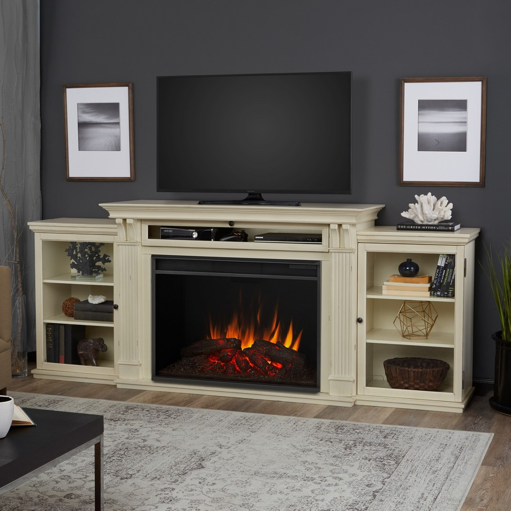 Image of Tracey Grand Electric Fireplace Entertainment Center- Distressed White - Real Flame