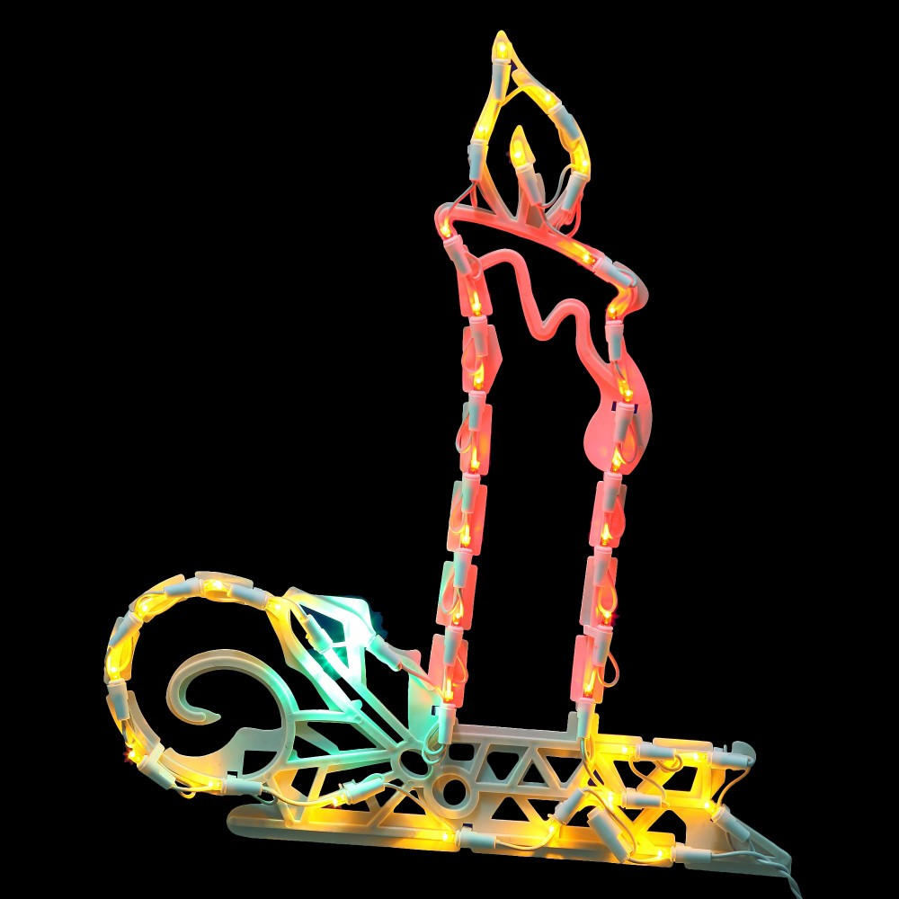 """Image of """"17"""""""" x 15"""""""" 35ct Pre-Lit LED Light Candle Window Decor Multicolored Lights"""""""