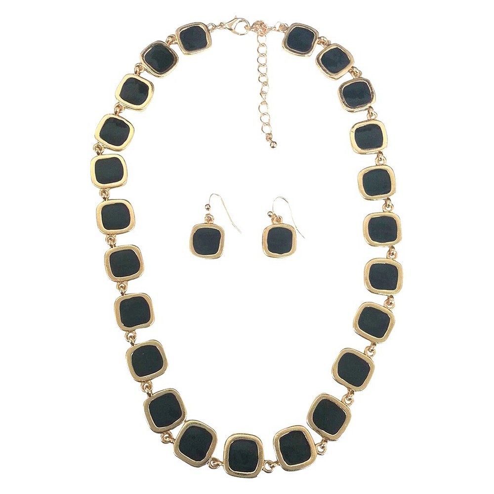 Image of Square Enamel and Gold Link Electroplated Earrings and Necklace Set - Black, Women's, Black/Gold