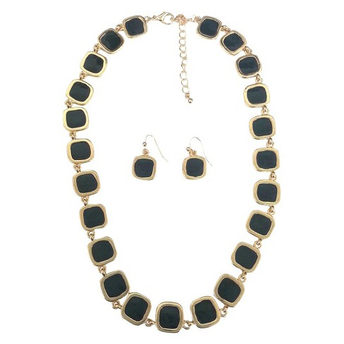 Square Enamel and Gold Link Electroplated Earrings and Necklace Set - Black - image 1 of 1