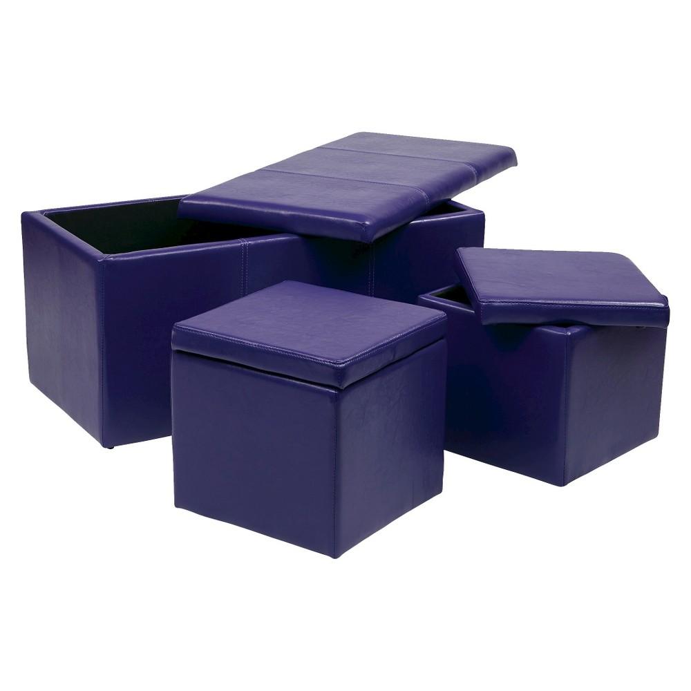 Image of 3pc Metro Storage Ottoman Set Purple - OSP Home Furnishings