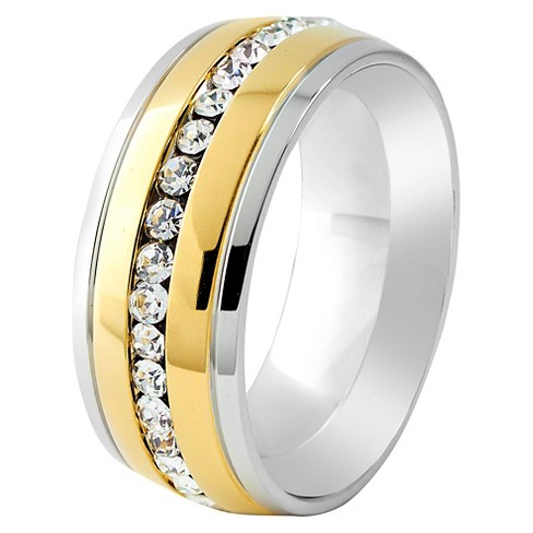 Men's Crucible Two-Tone Cubic Zirconia Eternity Band Ring - image 1 of 3