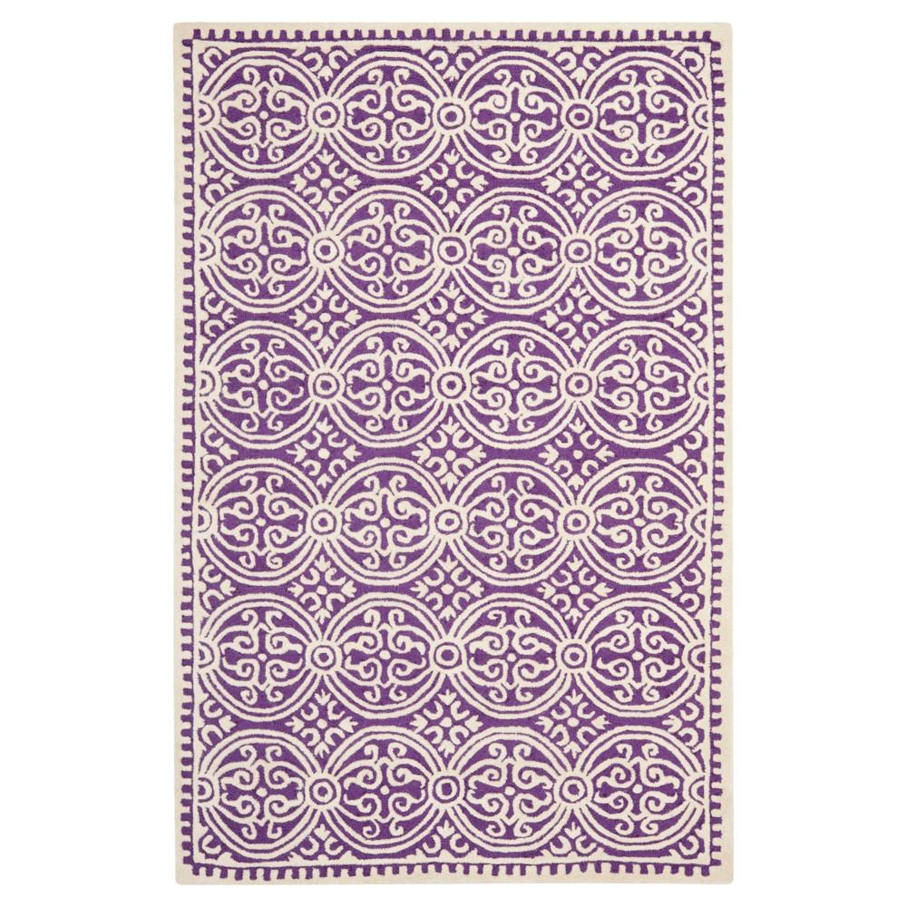 Purple Ivory Geometric Tufted Area Rug 5 X8 Safavieh