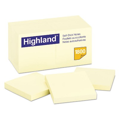 Highland Self-Stick Notes 3 x 3 Yellow 100-Sheet 18/Pack 654918PK