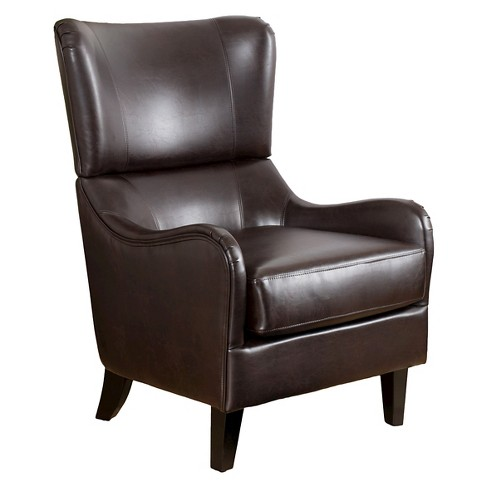Elijah Bonded Leather Sofa Chair Brown - Christopher Knight Home - image 1 of 4