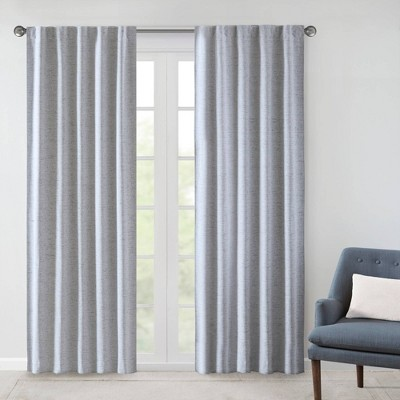 """Set of 2 63""""x38"""" Sable Woven Heathered Blackout Curtain Panel Blue"""