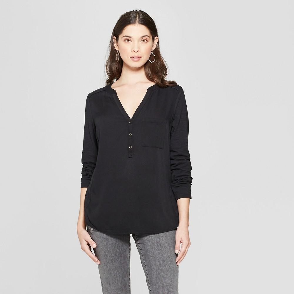 Women's Long Sleeve Blouse - Universal Thread Black Xxl