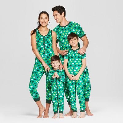 7778108d2a0 Snooze Button Men s St. Patrick s Day Clover Print Family Union Suit ...